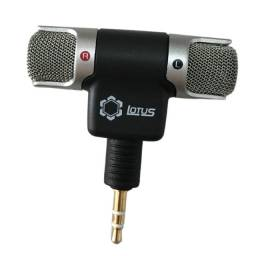 Microfone Estéreo Plugue P2 Lotus + Cabo Adaptador P3 Fêmea