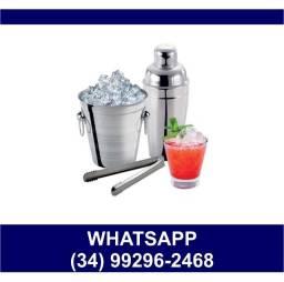Kit Drink 3 pçs Coqueteleira Balde Gelo e Pegador * Fazemos Entregas