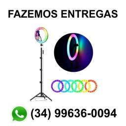 Ring Light 26cm Colorido RGB Tripé 1,60m