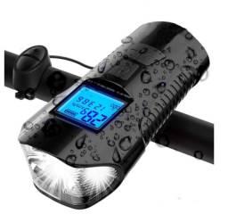 Farol Bicicleta Led Buzina Recarregavel USB C/ Velocimetro