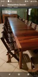 Mesa modular madeira maciça com 20 cadeiras
