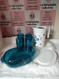 Kit floral tupperware em policarbonato
