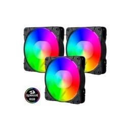 Título do anúncio: Kit Fan 3 Unidades Com Controladora RGB 120mm GC-F007 Redragon