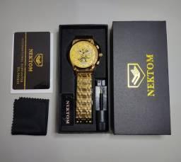 Relógio de Luxo Nektom Ouro A Prova D'água