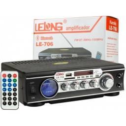 Amplificador Som Áudio Bluetooth Fm Le-706 Lelong Karaokê
