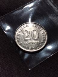 Moeda de 20 centavos de 1952 argentina