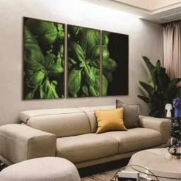 Quadro decorativo de paisagem de folhas. 126cm x 62cm, com moldura e vidro. Fineart