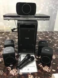 Home Theater hyundai com DVD e microfones-Novo