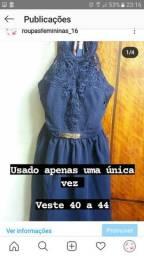 Vestido azul marinho de debutante