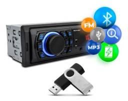 Rádio Automotivo Multilaser Original com Bluetooth, entrada para USB e Rádio