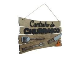 Placa Decorativa Cantinho Do Churrasco Mdf Alto Relevo