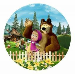 Painel Redondo Sublimado Masha e o Urso