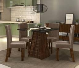 Sala de Jantar 4 cadeiras # Tampo de Vidro 90x90