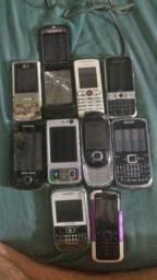 Lote com 10 celulares para reparo