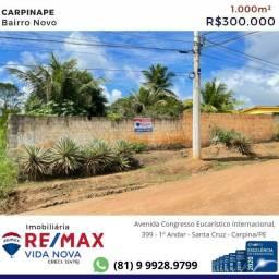 RE/MAX vende terreno 1.000m² Bairro Novo/Carpina