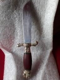 Antiga faca cabo bronze cabeça de leao