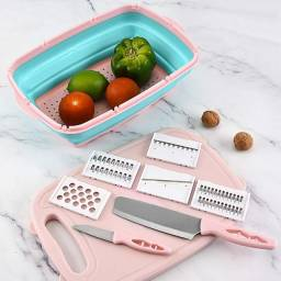 Tábua De Corte Multifunções 9 Em 1 Cozinha + Facas E Ralador