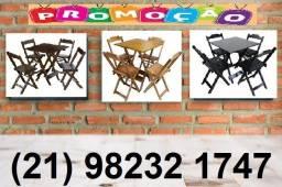 Jogo de Mesa com 2 ou com 4 cadeiras dobráveis em madeira Paifes