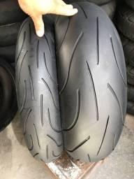 Pneus 120/70/17 e 190/55/17 Michelin pilot  power usados srad hornet  cbr1000