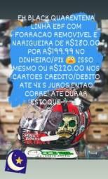 Black quarentena capacetes ebf forracao removivel e narigueira