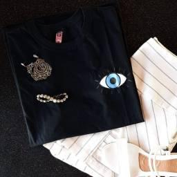 T-shirt femininas 100% algodão, alta qualidade