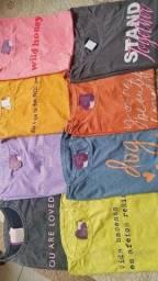 Camisetas T-shirt feminina com frases estampadas