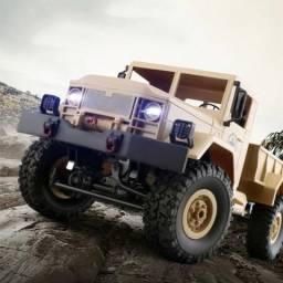 Caminhão Militar Controle Remoto 4x4 Com Led Todo Terreno