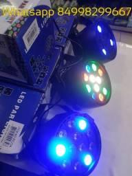 Canhão de led rgb 12 leds com várias funções e painel digital