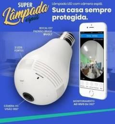 Câmera lâmpada espiã com áudio para todos os celulares
