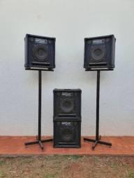 Conjunto de caixas de som com amplificador