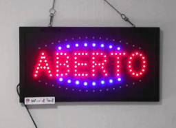 "Placa Letreiro de Led Escrito ""Aberto"" 110v"