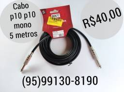 Atend24h 5 metros cabo p10 p10 mono para instrumentos e periféricos