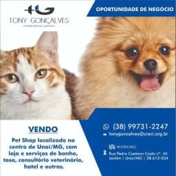 Oportunidade de negócio | Pet Shop localizado no centro de Unaí/MG