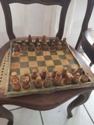 Jogo de xadrez em pedra sabão lindo280