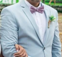 Terno azul claro de casamento