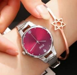 Relógio Feminino Aço Casual de Luxo