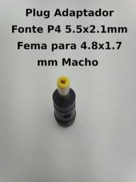 Plug Adaptador Fonte P4 5.5×2.1mm Fema Para 4.8×1.7 Mm Macho
