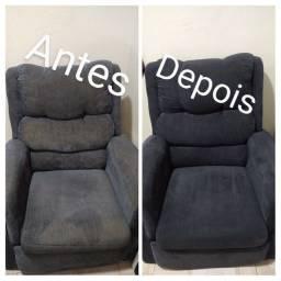 Higienização de poltronas tapetes cadeiras sofás camas