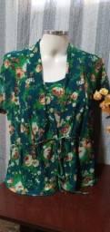 Blusa em Malha Verde com Estampada Floral ? Tam. G