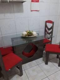 Baixei Pra Vender Logo Mesa De 4 Cadeiras Com Tampo De Vidro 550,00