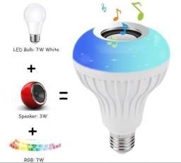 Lâmpada Led Rgb Caixa Som Música Bluetooth Controle 2 Em 1