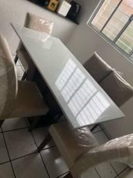 Mesa com tampo de vidro 6 lugares