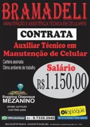 Vaga de emprego: Auxiliar Técnico em manutenção de celular. SALÁRIO DE R$ 1.150,00