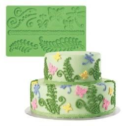 Forma Molde Placa De Silicone Renda de Folhas Galhos Borboletas Arabesco (verde)