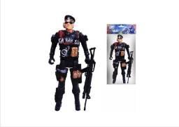 Super policia miniatura brinquedos bonecos articulados
