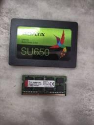 SSD 120gb e Memória de 8gb