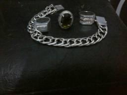 Conjunto 3 anéis e 1 pulseira de prata maciça