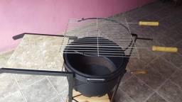 Churrasqueira tambor carvão grelha espeto