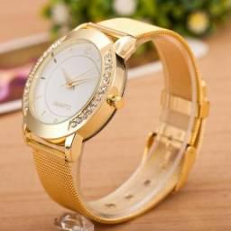 Relógio De Pulso Feminino Aço Inoxidável Cristal