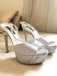 Sandália branca noiva 13,5 cm